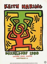 KEITH HARING -  DÜSSELDORF 1988 EXHIBITION  * VERY RARE PRINT 1993