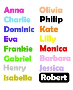 2 x Personalised Name/word Vinyl Sticker For glass, picture, water bottle ..