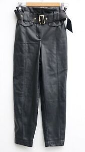 Gorgeous RIVER ISLAND Black Faux Leather Belted Skinny Trousers size UK 8R