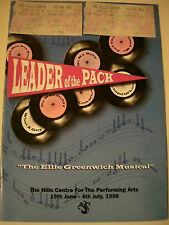 Aust  1988 LEADER OF THE PACK  PROGRAM + TICKETS John Paul Young-Musical