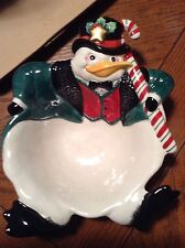 Fitz & Floyd Snow Business Candy Bowl Dish Snowman Duck Penguin Great For Office