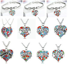 Heart Pendant Colorful Mom NANA Grandma Dad Mothers Fathers Necklace Presents