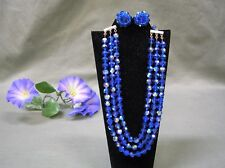 Vintage Alice Caviness 3 Carnival Strand Blue Crystal Beaded Necklace & Earrings