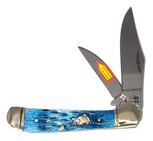 "Bulldog Dark Blue Locking Copperhead 3 3/8"" Pocket Knife Hand Made BDG-104DBJB"