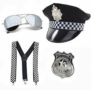 New Adult Policeman Police Officer Costume Fancy Party Glasses Badge Panda Hat