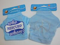 Puppy Dog T Shirts TWO Very Small Who Rescued Whom & Silver Studs Peace Size XS