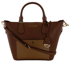 Michael Kors Greenwich Shopper Tote Bag Brown & Copper Saffiano Leather Handbag