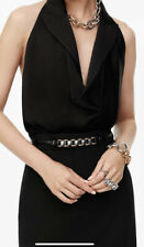 ZARA LIMiTED EDITION Black LEATHER BELT WITH CHAIN LINKS Size 30