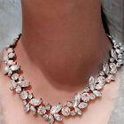 Women Clear Crystal Rhinestone Drop Flower Statement Choker Bib Necklace Pendant