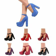 NEW WOMENS LADIES CHUNKY HIGH HEEL PLATFORM ANKLE STRAP COURT SHOES SIZE 3-7