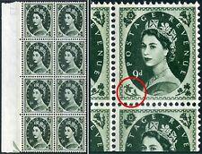 """Bronce fosforoso 9d 1966 QEII Violeta-Verde """"roto Narciso"""" SG Spec S128b"""