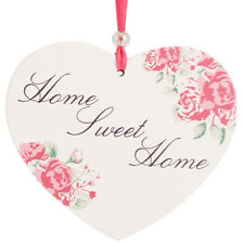 Home Sweet Home Hanging Posies Friendship Heart  Wall Plaque