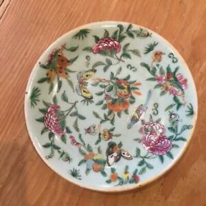 """Chinese Canton Famille Rose Porcelain 7"""" Plate Celedon Antique"""