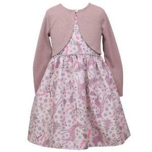 BONNIE JEAN Girl's 14 Reindeer Print Dress W/ Glittery Mock Shrug NWT