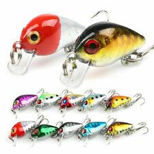 10 Fishing Lures Lots Of Mini Minnow Fish Bass Tackle Hooks Baits Crankbait US