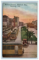 Shattuck Ave Berkeley CA Postcard Business Section Electric Trains Trolleys