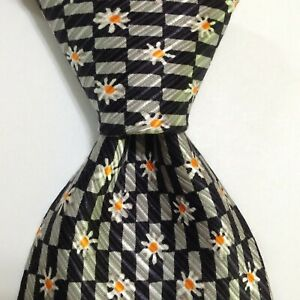 TINO COSMA Men's 100% Silk Necktie ITALY Luxury FLORAL Black/Gray/White GUC