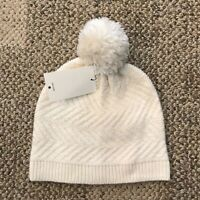 UGG Australia Womens Winter Beanie Knit Hat Ivory One Size Wool Blend 18107