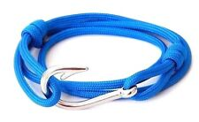 Nautical Silver Fish Hook Bracelet Paracord Men Women Fashion Adjustable Jewelry