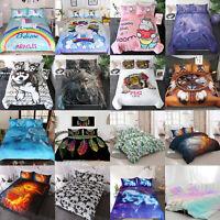 Kids Children Bedding Twin Full Queen King Size Duvet Quilt Cover Set Boys Girls