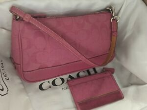 Coach Vintage Pink Canvas Signature C Demi Clutch Bag 6094 w/ Card Holder/Purse