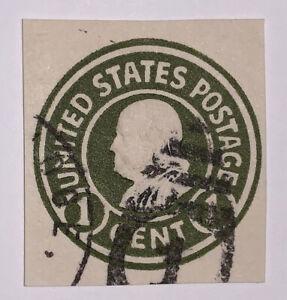 Travelstamps:US Stamps Scott #U420 Cut Square 1 Cent Franklin Fancy Cancel