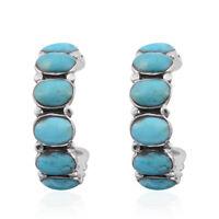 Girls Turquoise 925 Sterling Silver Hoops, Hoop Earrings Southwest Jewelry
