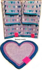 Betsey Johnson Wild Heartbeat 7 Piece Set Bath Towel & Heart Rug Purple Blue Nwt