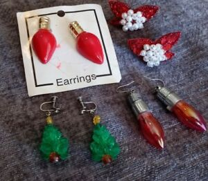 Lot of 4 Christmas Earrings 1 Tree, 2 Lights, 1 Red & White Sparkly