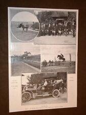 Roma nel 1907 Concorso ippico Tor di Quinto Caduta fosso Staccionata Auto reale