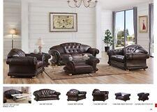 Versace Brown Genuine Top Grain Italian Leather Luxurious Living Room Sofa Set