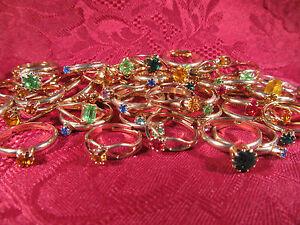 Crystal Kids Teens Adjustable Birthstone Ring Assorted Lot of 12