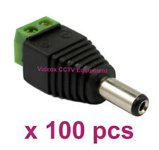 100X 2.1 x 5.5mm DC 12V 24V Male Power Cable Connector Plug for CCTV Camera DVR