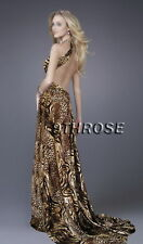 REAL STUNNER! BEADED FORMAL/EVENING/PROM WITH SPLIT; LEOPARD PRINTS AU 14/US 12