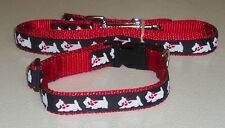 WESTIE COLLAR&LEASH SET RED TRADITIONAL FREE SHIP USA