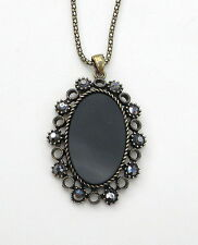 """Gold Tone and Black Oval Pendant on Chain Approx. 17"""" and 2.1/2"""" Necklace"""
