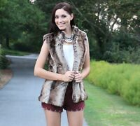 Womens Sleeveless Faux Fur Vest Coat Size S M Brown Animal Print Open Front