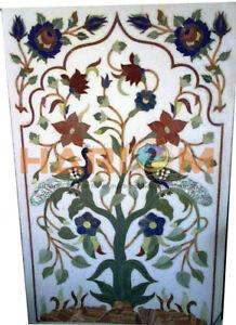 4'x2' Marble Dining Table Top Precious Peacock & Floral Inlay Hallway Decor W369