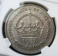 AUSTRALIA silver Crown 1938 NGC AU 55 a UNC