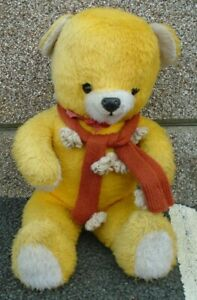British Large Soft Toy Yellow Bear with Red Scarves