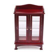 Dollhouse Miniature Mahogany Display Cabinet Kitchen Living Room Cupboard