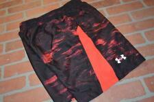 11398-a Mens Under Armour Gym Running Shorts Size Medium Black Red