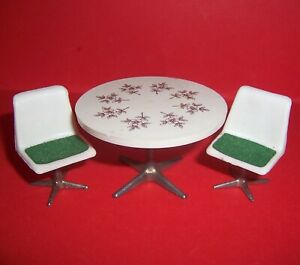 VINTAGE 1970's LUNDBY BARTON DOLLS HOUSE RETRO TABLE AND SWIVEL EGG CHAIRS