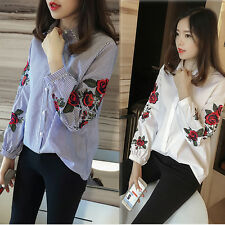 Women Floral Flower Rose Embroidery Blouse Casual Loose Lapel Shirt Ladies Tops