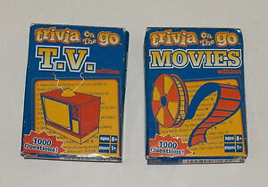 2 Packs Trivia On Go TV AND Movies Card Decks 1000 Questions Road Trip Fundex