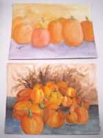 Pair 2 Original S. Johnson Pumpkins Autumn Fall Watercolor Painting Signed Art