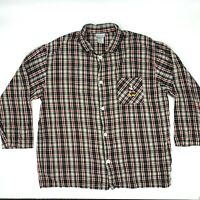 Mickey Mouse Flannel Shirt Men 2XL Christmas Holiday Button Up Long Sleeve Plaid