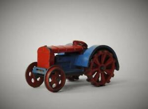 DINKY TOYS MECCANO 1934-41 RARE DIE-CAST LEAD 22e FARM TRACTOR RED & BLUE