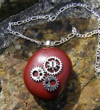 "Lucky Sea Bean with Cogs, Gears Pendant 18"" Chain Necklace Handmade in Cornwall"