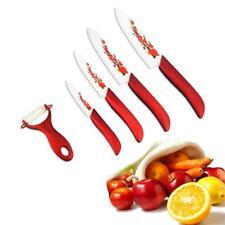 1 New Set Kitchen Tool Ceramic Knife 3'' 4'' 5'' 6'' knives +Cover/Holder Red